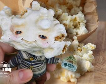 Stanley White - fantasy print art doll popcorn boy anthropomorphic movie addict - lustre print ( 8 in x 12 in ) whimsical little guy