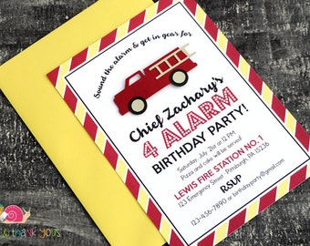 Fire Truck Birthday Party Invitations · A6 FLAT · Red and Yellow · Fireman Baby Shower | Firehouse Birthday Party | Firetruck Party