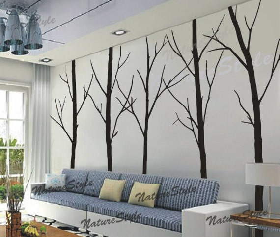 Tree Wall Decal Winter Trees Nature Forest Wall Decals Art Wall Decor  Nursery Wall Sticker Living Room Wall Mural Five Winter Trees