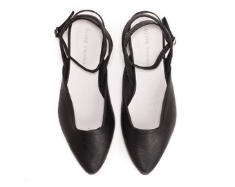 Black Shoes, Black Shoes, Elegant Shoes, Elegant Flats, Low Heel, Flats, Pointed Toe Flats, Sherry // Free Shipping