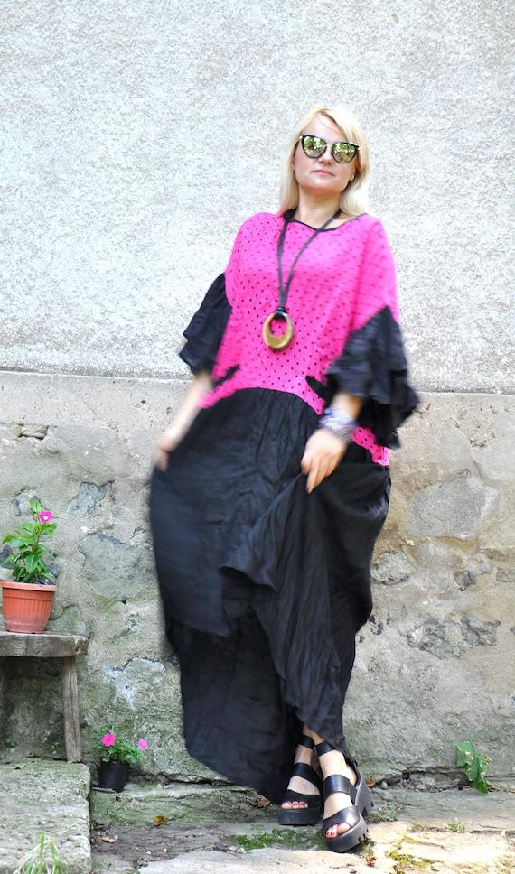 Linen Linen Long extravagant Long Black Linen size caftan dress dress Plus dress dress D0325 rose Oversize maxi dress pink summer dress 5qAvrqxw7O