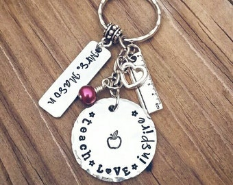 Teacher Keychain * Teach Love Inspire * Apple * Texturized  * Teacher Gift * Personalized * End of the year gift