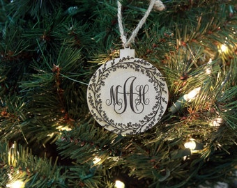 Christmas Ornament, Personalized Ornament, Custom Christmas Ornament, Wood Engraved Ornament, Wood Ornament, --ORN-WOOD-Monogram
