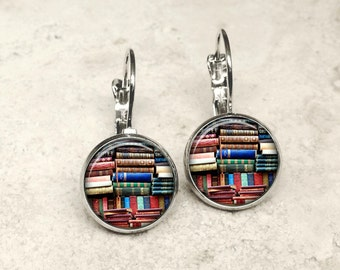 Glass dome book earrings, book earrings, bookshelf earrings, book leverbacks, book leverback earrings HG152LB