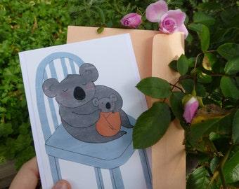 Koala Hug Greeting Card (blank) + Peach Envelope - Bel Blossom