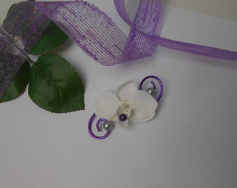 Boutonniere with Orchid - purple and silvery - white brooch for wedding