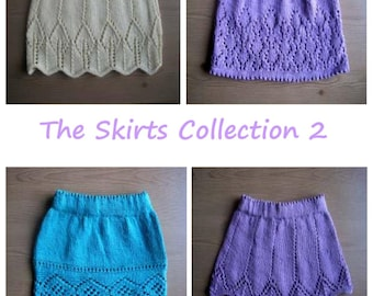 Girl's Skirt Knitting pattern collection E-Book - 4 patterns, all in 6 sizes - newborn - 5