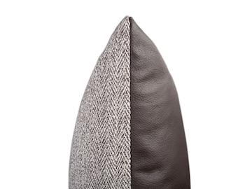 Textured Herringbone & Leather Pillow