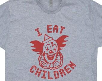 Scary Clown T Shirt I Eat Children Shirt Creepy Clown Shirt Pennywise Clown Shirt Vintage Horror Movie Shirt Halloween Clown Tee Evil Clown