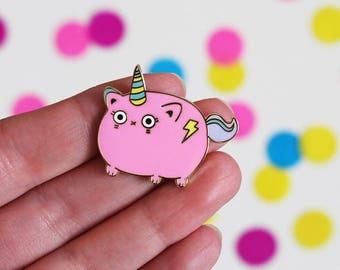Unicat Enamel Pin, Unicorn Enamel Pin Badge, Caticorn, Unicorn Brooch, Cute Enamel Pin, Cat Brooch, Hard Enamel Pin, Metal Pin, Magical Pin