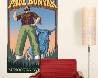 Paul Bunyan Minocqua Wisconsin Wall Decal - #66381