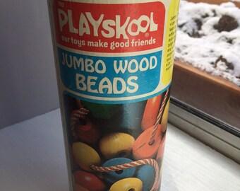 Vintage Playskool Jumbo Wood Beads, 1974