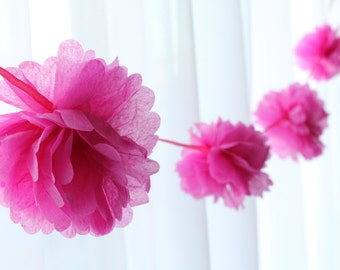 9 Foot - Tissue Pom Garland available in Bright Pink, Orange, Spring Green, Sky Blue - Great for Showers!