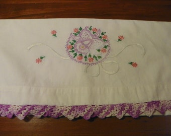 Vintage Pillowcase wtih Purple Hand Embroidered Flower and Chrochet Trim