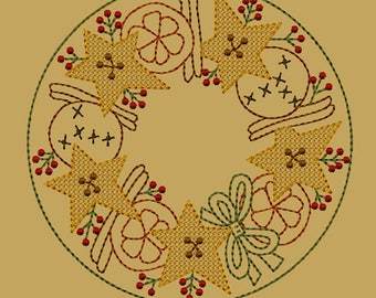 MACHINE EMBROIDERY-Orange, Cinnamon Spice Candle Mat-7-Inch-Motif-Instant Download