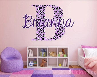 "Custom Color Cheetah Monogram Name Girls Room Vinyl Wall Decal Graphics 22"" tall Bedroom Decor"