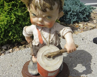 "G Armani ""Gulliver's World"" Italian Sculpture from 1980's/Boy Playing Tin Can Drum with Wooden Sticks/Vintage Collectible Figurine"