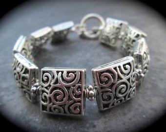 "Silver Filigree Squares Bracelet with Toggle Clasp 7 1/2"" Filigree Bracelet"