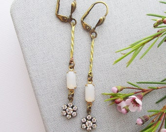 vintage opal earrings assemblage owlsnroses jewelry white opal