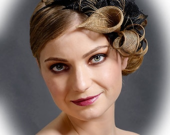 Black and gold delux fascinator to be worn at the left side of the head as at the picture
