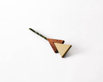 Mahagony and gold color double triangle hair jewellery - elegant natural wood and brass intarsia hair pin