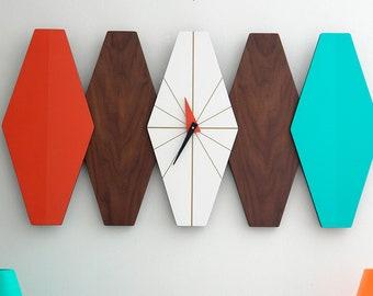 MCM Mid-Century Modern Geometric Architectural Wall Clock Walnut Bi-Directional