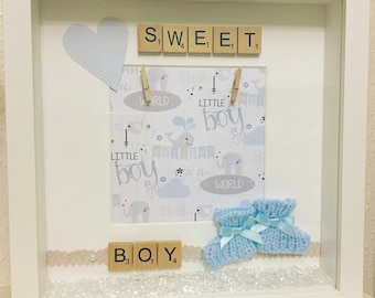 Baby Shower, Baby shower gift, Baby Boy Gift, New baby gift, Sweet baby boy box frame gift, Baby boy Picture frame, booties, Boy baby shower