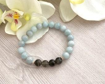 Aquamarine Moonstone Beaded Bracelet