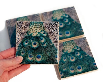 Peacock Coaster Set (4 Stone Coasters) Bird Home Decor, Peacock Feather Wedding Decor and Favors - Mother's Day Gift
