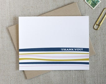 Modern Striped Thank You Note Card / Colorful Stripes / Minimal Thank You Notes / Elegant Stationery / Anytime Thank You Cards