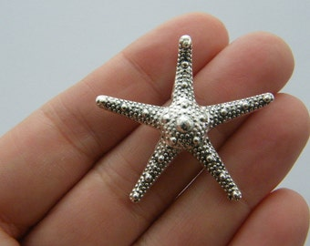 2 Starfish charms antique silver tone FF285