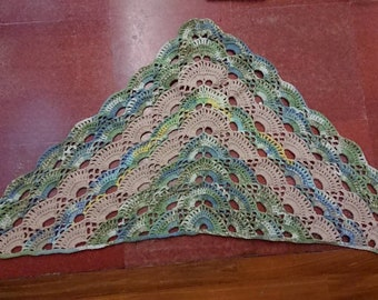Green speckled virus shawl