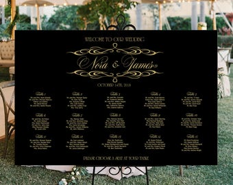 Wedding seating chart personalized printable black and gold, black and gold wedding seating plan DIGITAL seating assignment poster sizes
