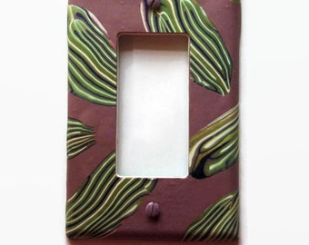 Light Switch Cover, Rocker Switch Plate, Single Switchplate, Mauve with Green and Blue Leaves