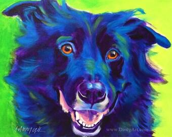 Border Collie, Pet Portrait, DawgArt, Dog Art, Pet Portrait Artist, Colorful Pet Portrait, Border Collie Art, Art, Art Prints
