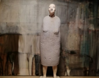 Standing Woman in Grey Dress/ Ceramic Colorful Unique Standing Sculpture/ Female Figure