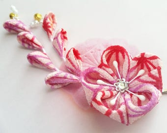 Pink Red Japanese Traditional Geometric Leaves Pattern Design Kimono Kanzashi Fabric Flower Hair Clip