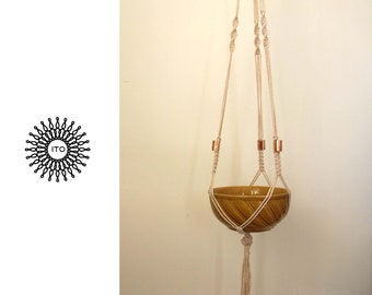 macrame cotton plant hanger with metal/long/copper/