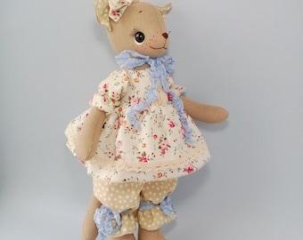 Cat doll Cat plush Cloth doll Cat cute stuffed animal Animal art doll Nursery decor doll Art rag nterior doll Textile doll art toy