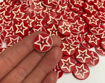 Retro star buttons (set of 10)