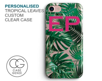 Personalised Tropical Leaves Clear Phone Case for iPhone X 8 Plus 7, 6, 6s Cell Phone Cover Frosted Transparent Custom Palm Leaf Banana DES1