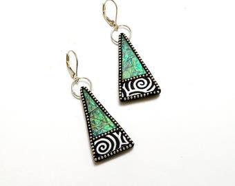 Sterling silver dangle triangle green blue iridescent polymer earrings sterling silver beads black white swirls sterling lever wires