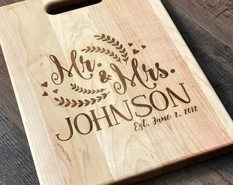 Personalized Cutting Board, Custom Cutting Board, Engraved Cutting Board, Wedding Gift, Wood Chopping Board, family established, Mr. & Mrs.