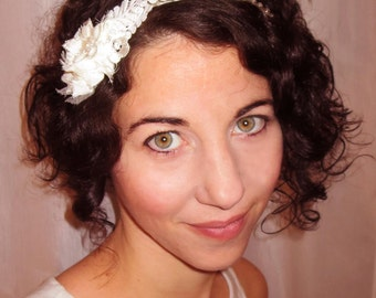 Wedding headband, Great Gatsby head piece with chiffon flower, venise lace, acrylic pearls and seashell beads.