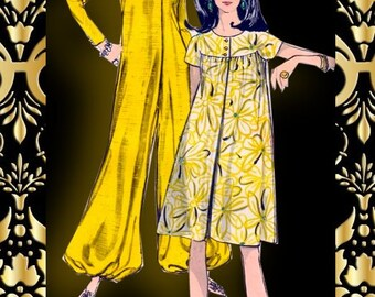 Vintage 1960s-ULTRA MOD-Harem Pants Jumpsuit-Day Dress-Vogue Sewing Pattern-Shaped Yoke-I Dream of Jeannie Style Pants-Gathers-Size 14-Rare
