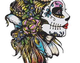 Modern Cross Stitch Kit 'Snow White' By Illustrated Ink, Sugar Skull Cross Stitch, Counted Cross Stitch, Skull Needle Carfat Set