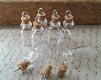 DIY, glass bottle, Small message bottle pendant, cork top