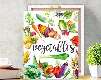 Vegetable Print, Vegetable Art, Vegetable Wall Decor, Vegetable Canvas, Vegetable Sign, Kitchen Print, Watercolor Vegetable Print