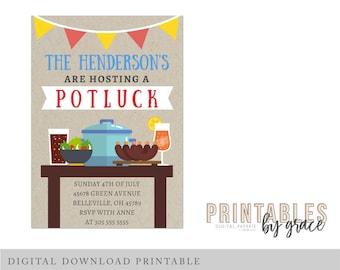 DIGITAL INVITATION custom Potluck backyard bbq barbecue PDF invite printable download Party house house waming