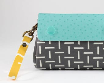 Turquoise and gray wallet, Wallet women, Geometric printed wallet, Vegan wallet, Cute wallet, Cute printed wallets, Vegan leather wallet